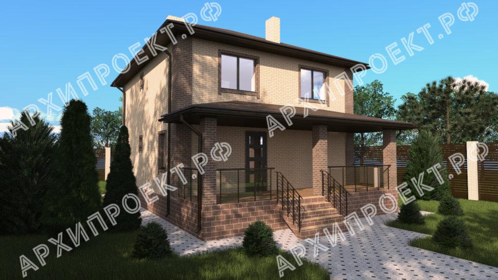 Проект двухэтажного дома с террасой спереди купить проект