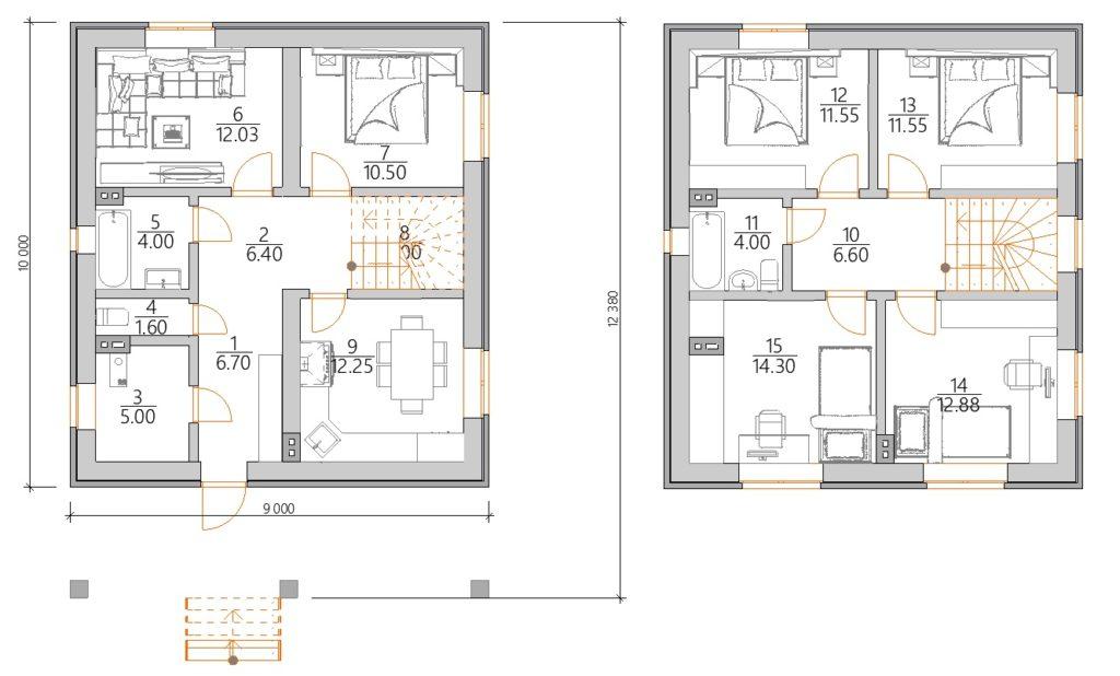 Проект двухэтажного дома с террасой спереди планировка