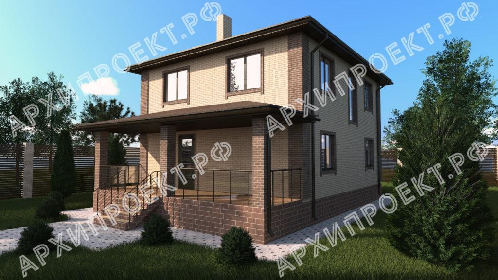 Проект двухэтажного дома с террасой спереди фото