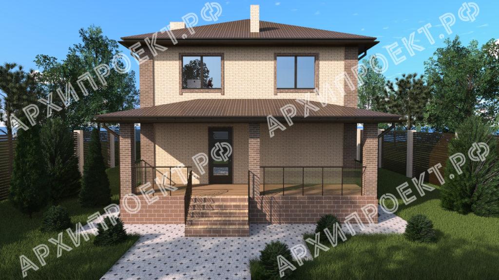 Проект двухэтажного дома с террасой спереди