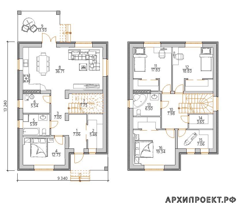 Планировка двухэтажного дома до 200 кв м