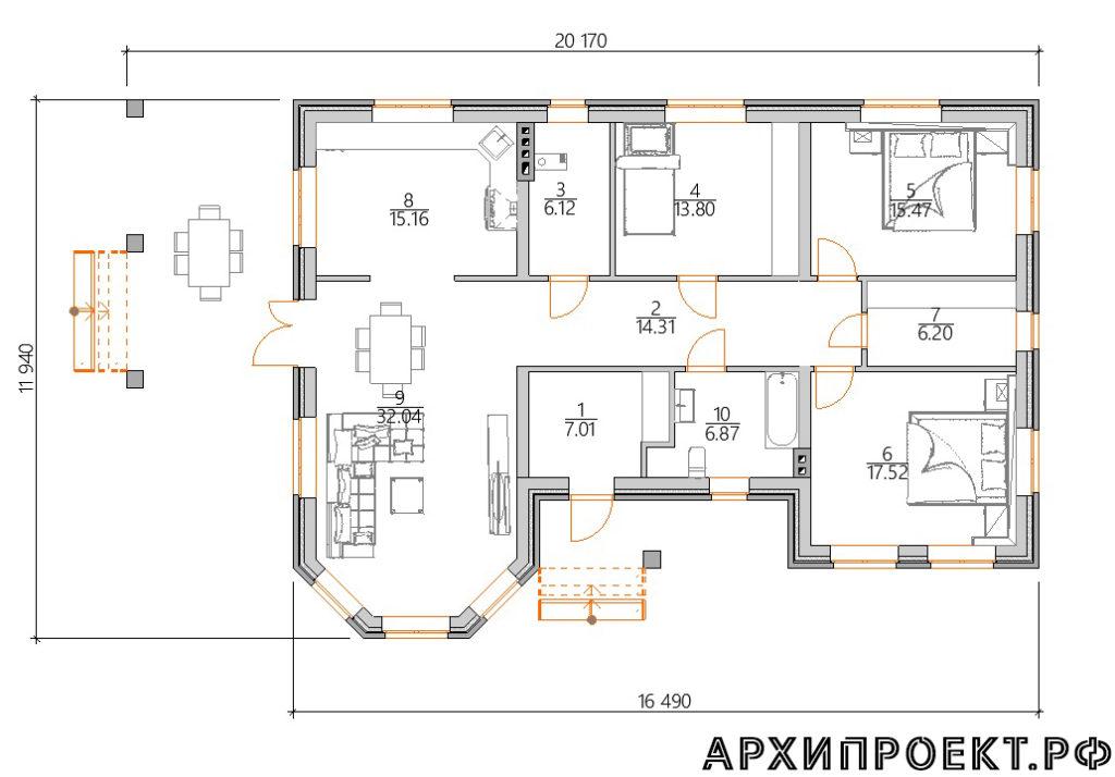 Планировка одноэтажного дома для широкого участка
