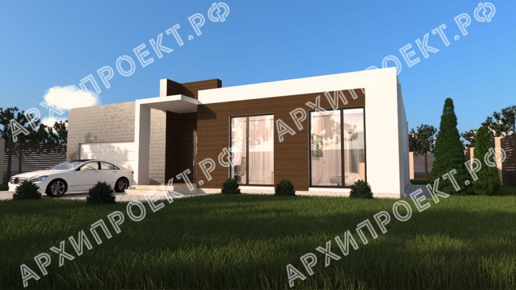 Дом с плоской крышей и гаражом на две машины
