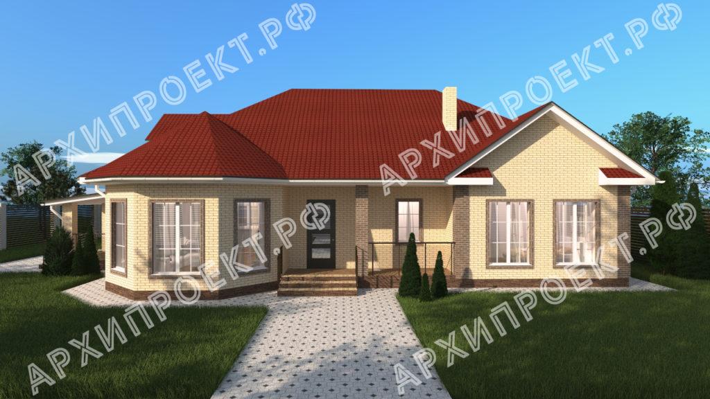 Одноэтажный дом для широкого участка