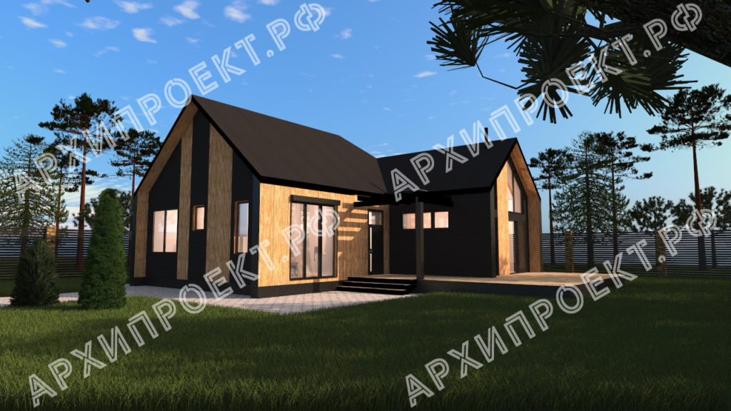 Дом в стиле барнхаус с черным фасадом