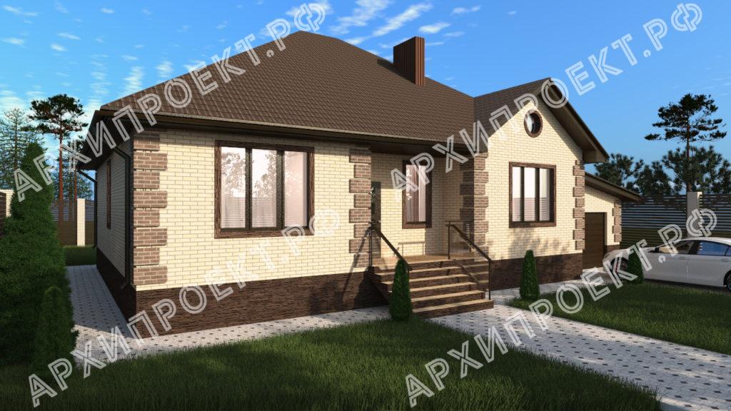 Дом одноэтажный с тремя спальнями проект
