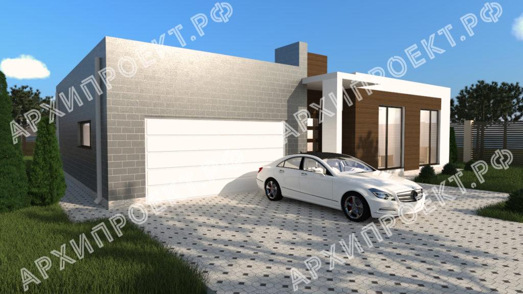 Дом с плоской крышей и гаражом