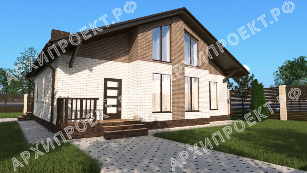 Дом с мансардой из газобетона с панорамными окнами