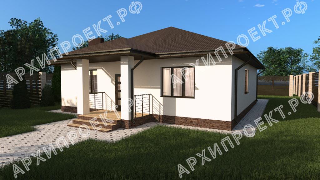 Проект одноэтажного дома с сауной из кирпича