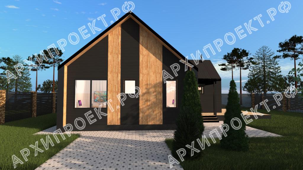 Дом в стиле барнхаус с фасадом из дерева