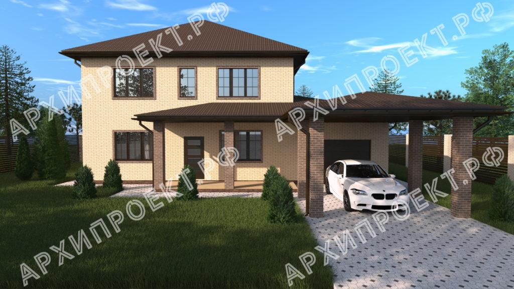 Двухэтажный дом с гаражом и навесом купить проект
