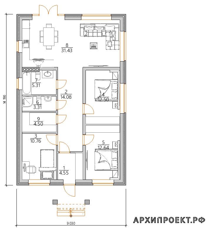Планировка одноэтажный дом под ключ