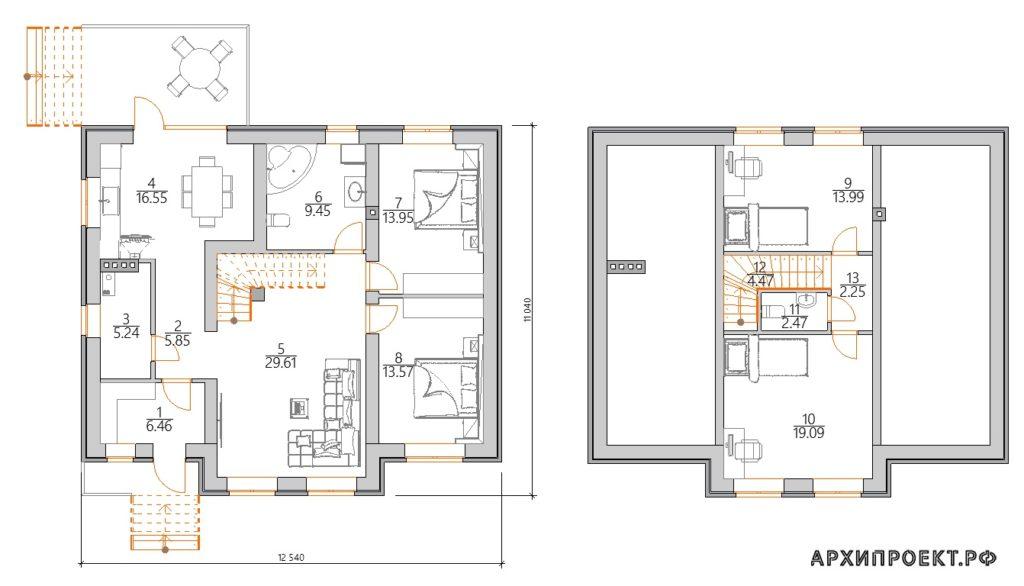 Планировка дома с мансардой с панорамными окнами