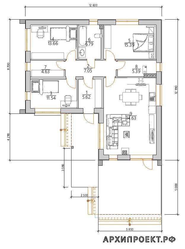Планировка углового дом2