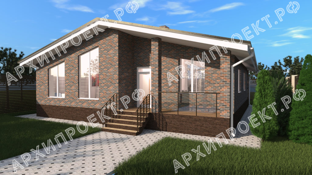 Одноэтажный дом в стиле шале проект