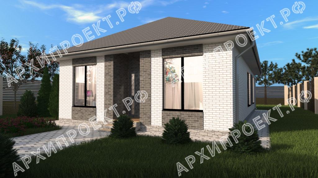 Проект простого дома серый