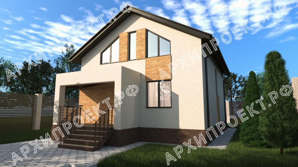 Современный дом с мансардой из штукатурки