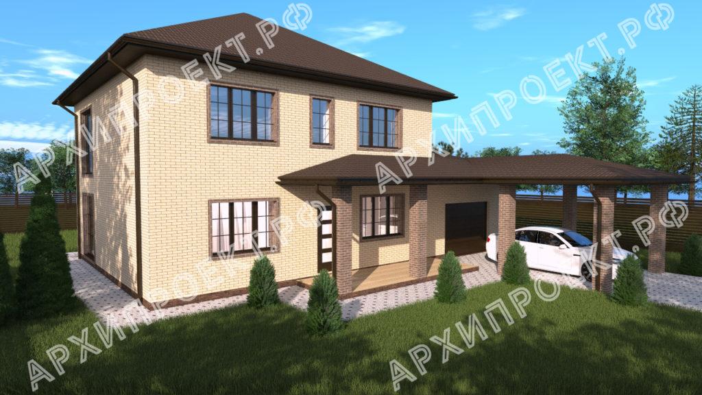 Двухэтажный дом с гаражом и навесом из кирпича