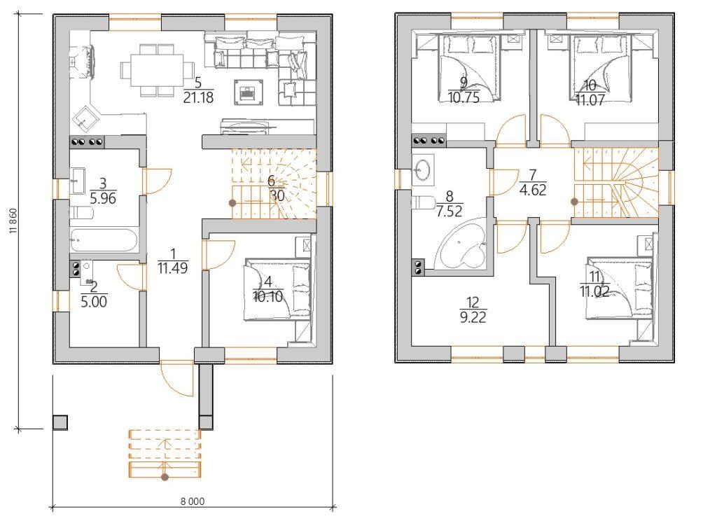 Планировка Современный дом с мансардой