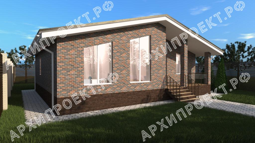 Одноэтажный дом в стиле шале с панорамными окнами