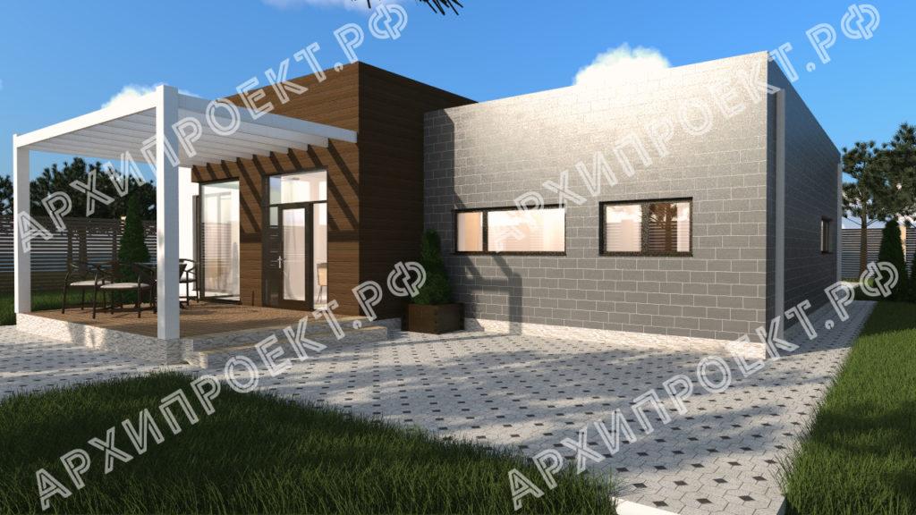 Дом с плоской крышей и гаражом с террасой