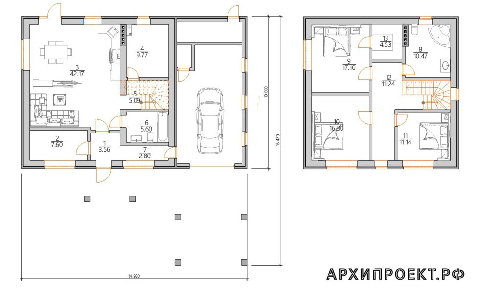 Планировка двухэтажного дома с гаражом и навесом