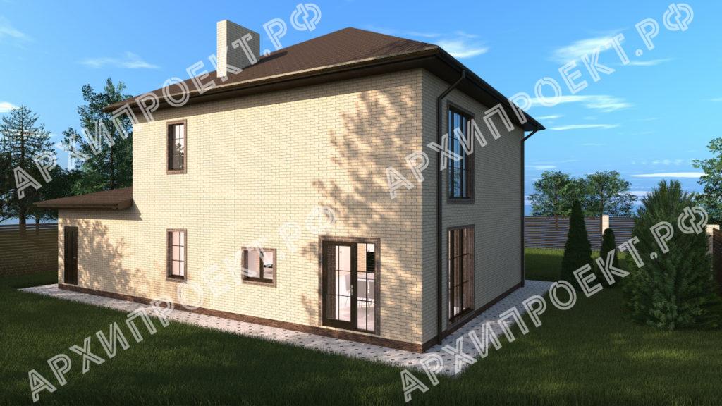 Двухэтажный дом с гаражом и навесом