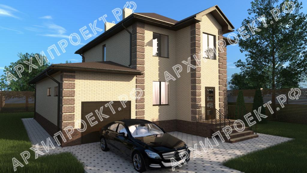 Двухэтажный дом с баней и с гаражом купить проект
