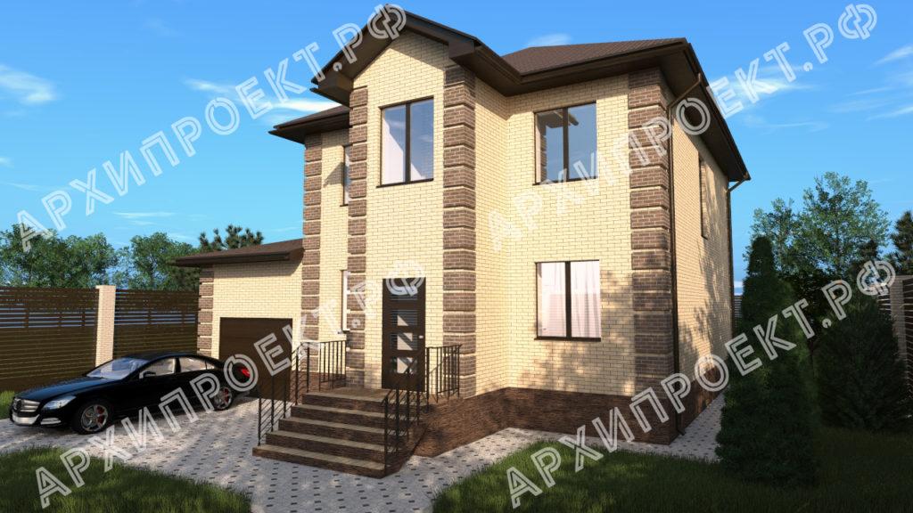Двухэтажный дом с баней и с гаражом из кирпича