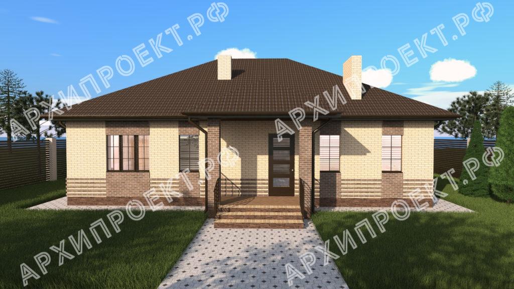 Одноэтажный дом с сауной