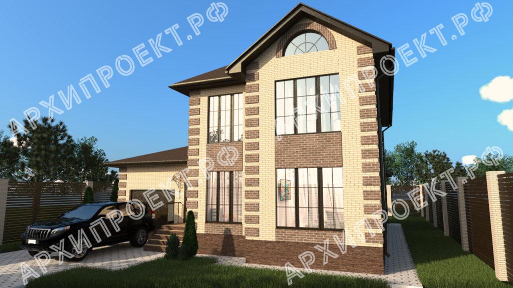 Двухэтажный дом для узкого участка из кирпича с панорамными окнами