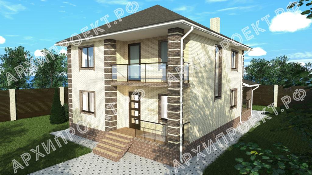 Проект двухэтажного дома из кирпича фото
