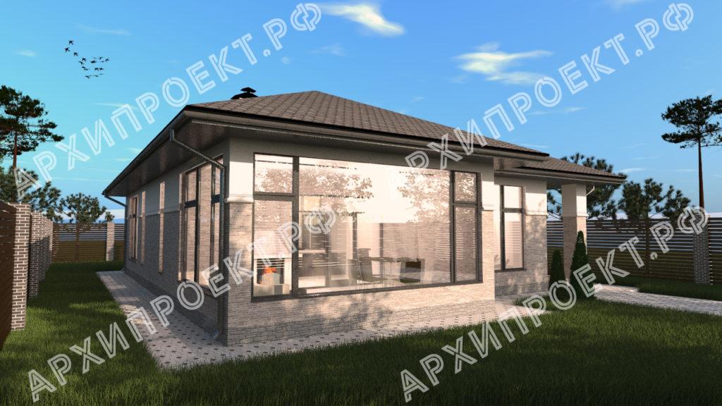 Одноэтажный дом в стиле Райта  фото