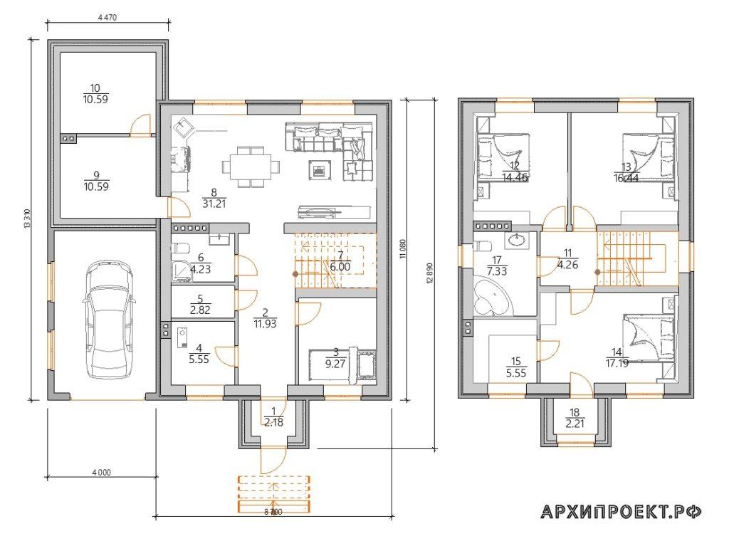 Планировка двухэтажного дома с баней и с гаражом