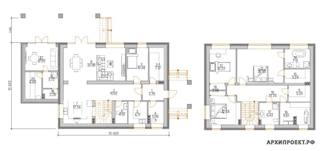 Планировка дома с террасой и с баней