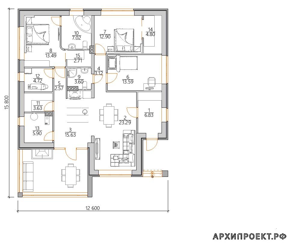 Планировка одноэтажного дома в стиле Райта