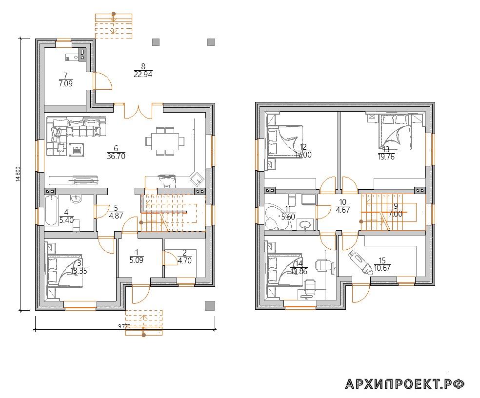 Планировка проекта двухэтажного дома из кирпича