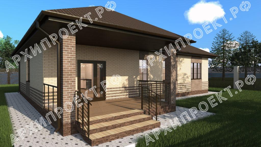 Одноэтажный дом с сауной из кирпича