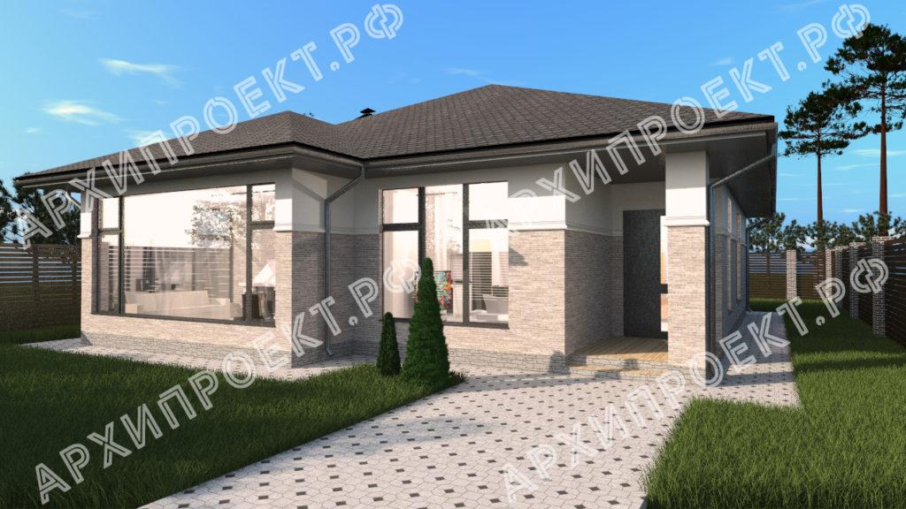 Одноэтажный дом в стиле Райта  купить проект