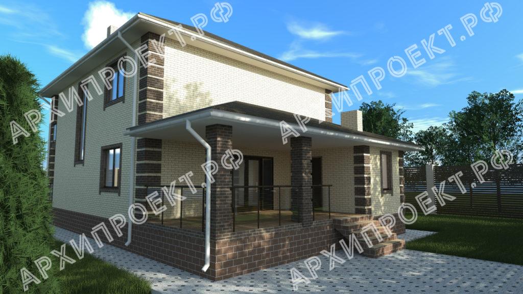 Проект двухэтажного дома из кирпича с террасой