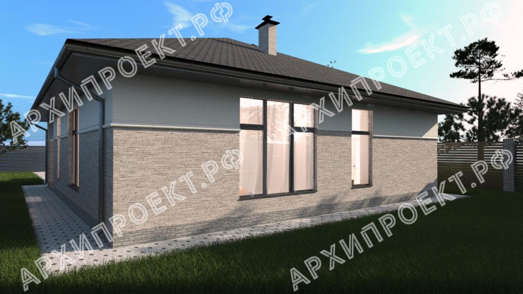 Одноэтажный дом в стиле Райта с панорамными окнами