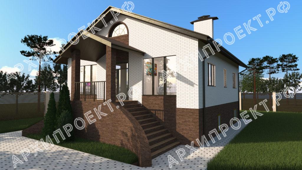Одноэтажный дом с цоколем