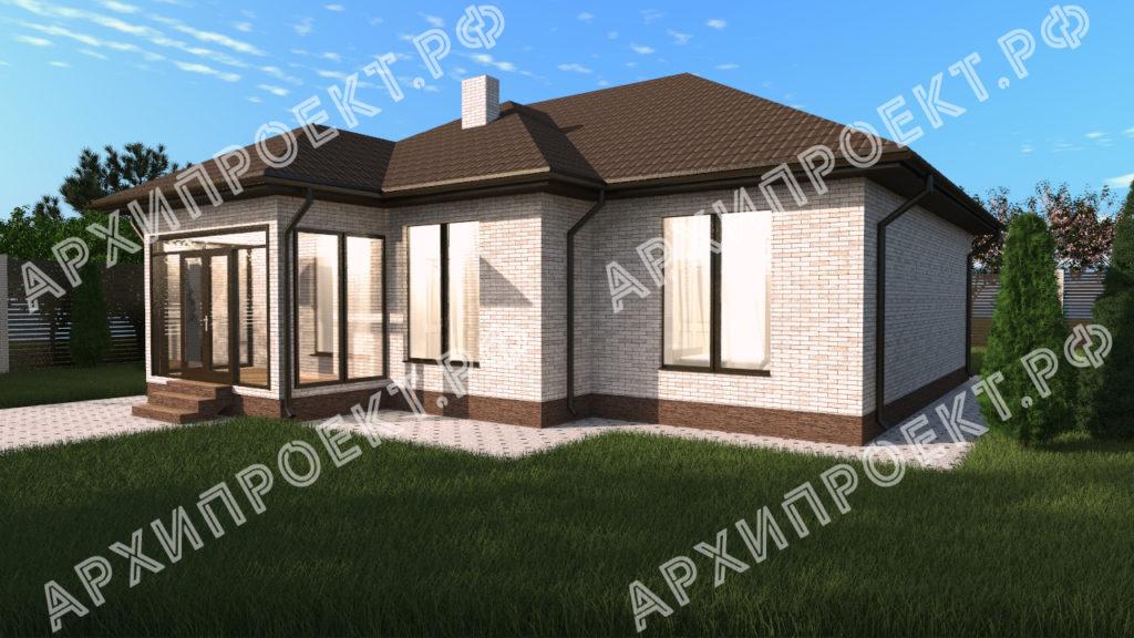 Одноэтажный дом с 4 спальнями из кирпича