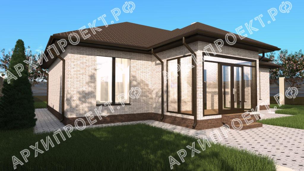 Одноэтажный дом с 4 спальнями с террасой