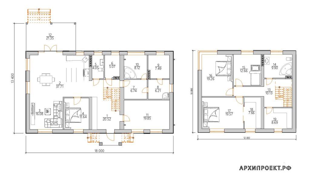 Планировка Дом в стиле хай-тек