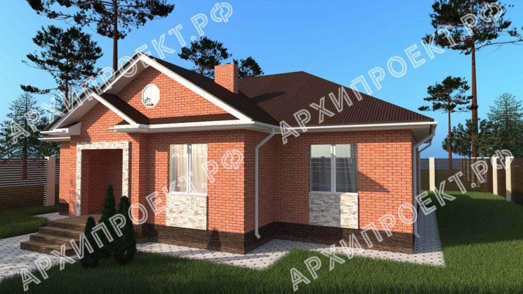 Дом из красного кирпича с террасой
