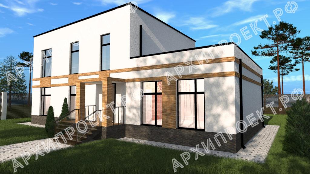 Дом в стиле хай-тек с панорамными окнами