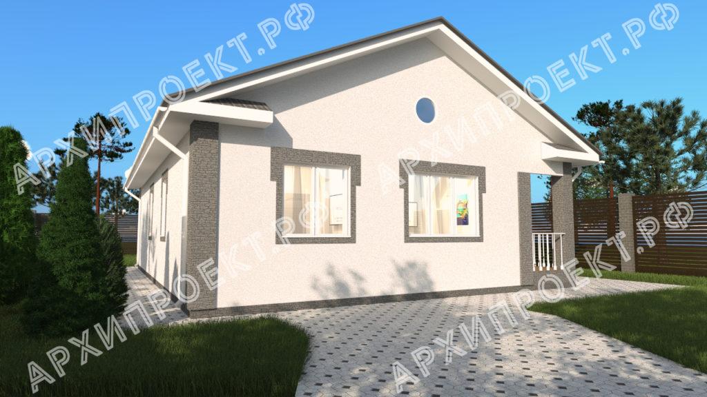 Одноэтажный дом из штукатурки