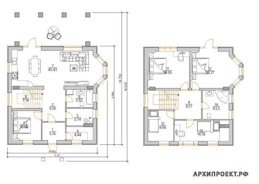 Планировка Двухэтажный дом в классическом стиле