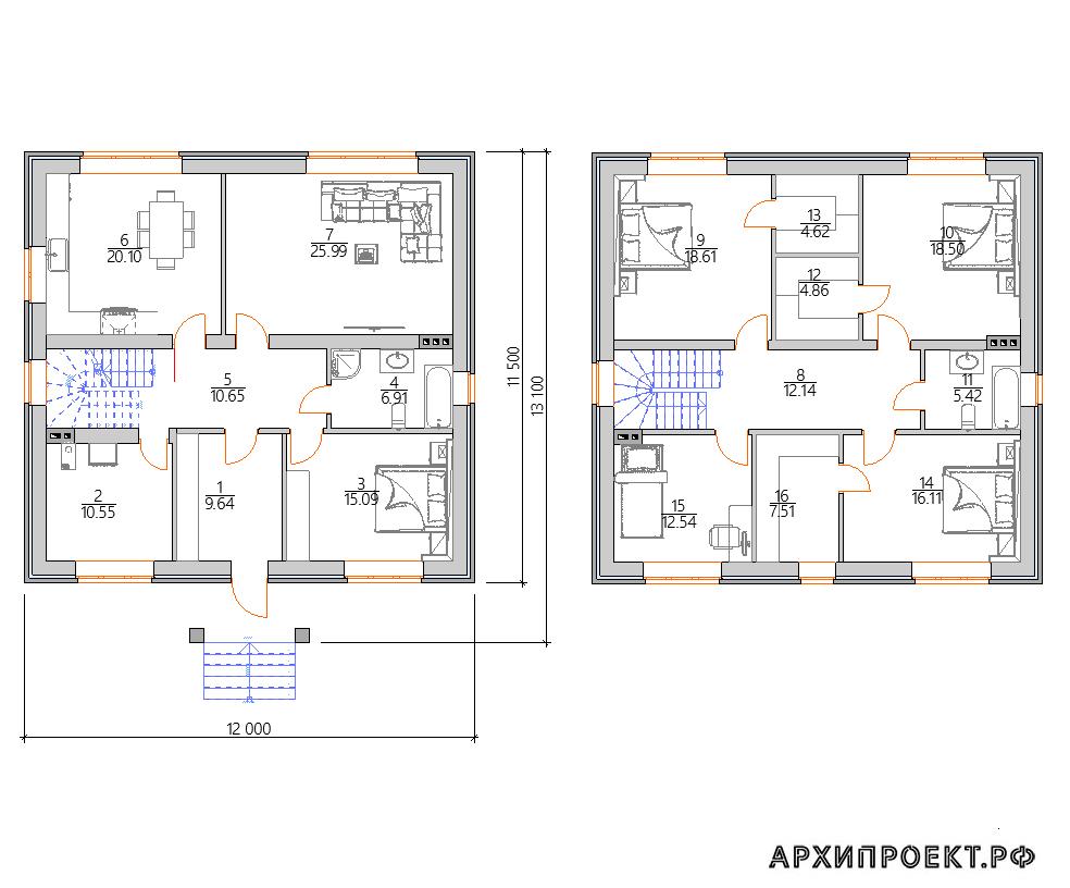 Планировка Двухэтажный дом 12 на 12